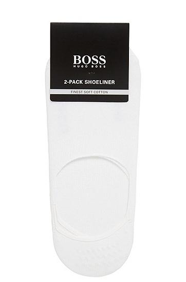 兩雙裝硅膠成分棉質混紡隱形船襪,  100_白色