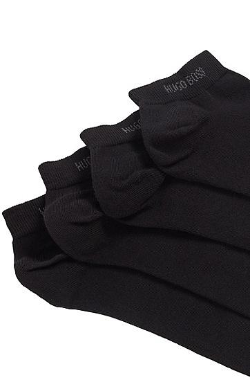 两双装棉质混纺短袜,  001_黑色