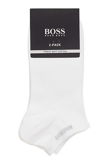 两双装棉质混纺短袜,  100_白色