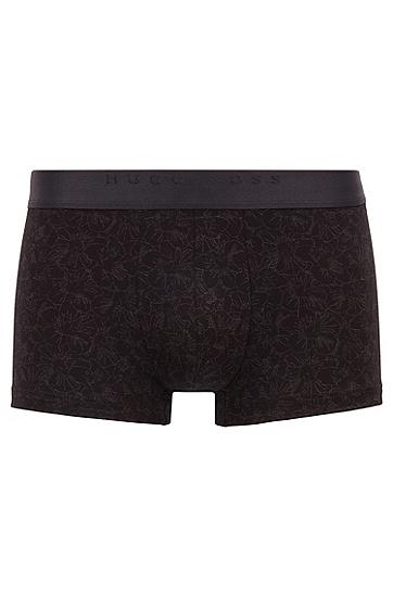 通体花卉印花的带弹力平纹单面针织布运动短裤,  002_黑色
