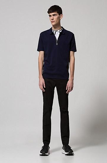 饰以对比色拉链细节的双面棉质polo衫,  410_海军蓝色
