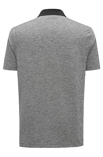 对比色衣领棉质凸纹布polo衫,  001_黑色