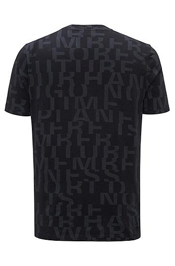 饰以抽象标语图案的棉质T恤,  001_黑色