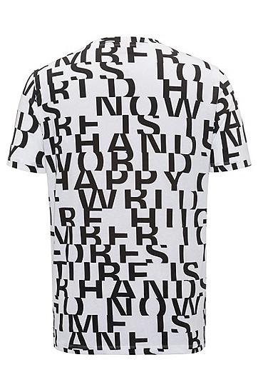 饰以抽象标语图案的棉质T恤,  100_白色