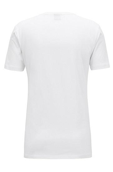 修身版定位夏日印花T恤,  100_白色