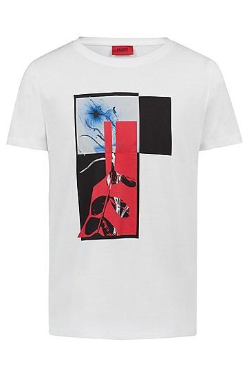 饰以抽象印花的休闲版棉质T恤,  104_天然色