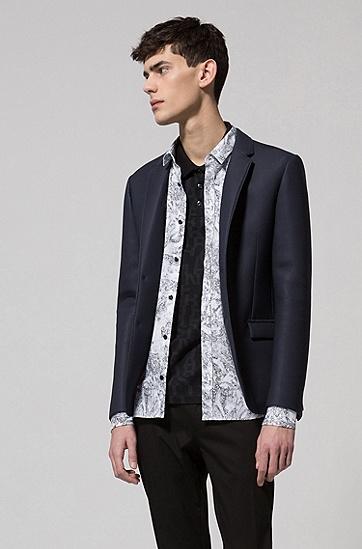 通体饰以标语印花的棉质凸纹布polo衫,  001_黑色