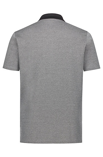 饰以对比色衣领的棉质牛津纺凸纹布polo衫,  001_黑色
