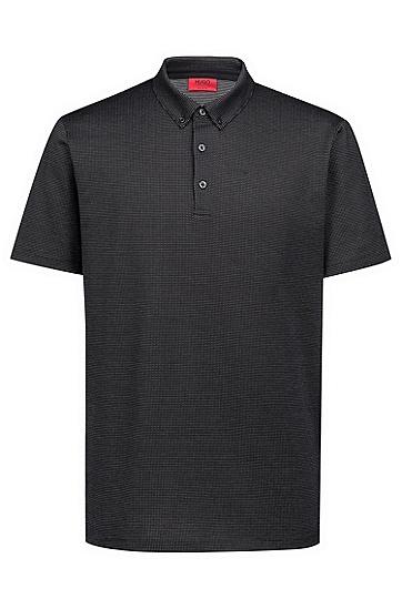 常规版微型提花丝光棉polo衫,  001_黑色