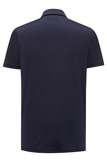 饰以对比色纹理质感前襟的修身版棉质polo衫,  410_海军蓝色
