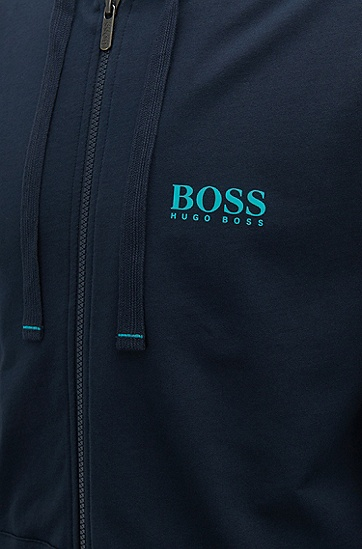 饰以对比色细节的法式毛圈布带风帽外套,  403_暗蓝色