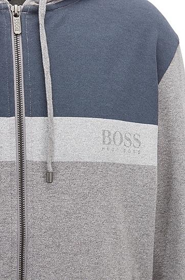 色块拼接棉质平纹单面针织布家居帽衫,  033_中灰色