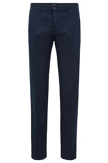 常规版结构化弹力棉斜纹棉布裤,  410_海军蓝色