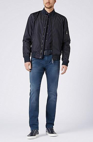 修身版意大利制造棉质府绸衬衫,  410_海军蓝色