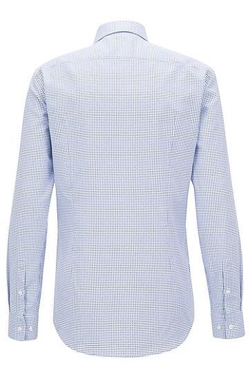 意大利制造修身版几何印花棉质衬衫,  474_淡蓝色