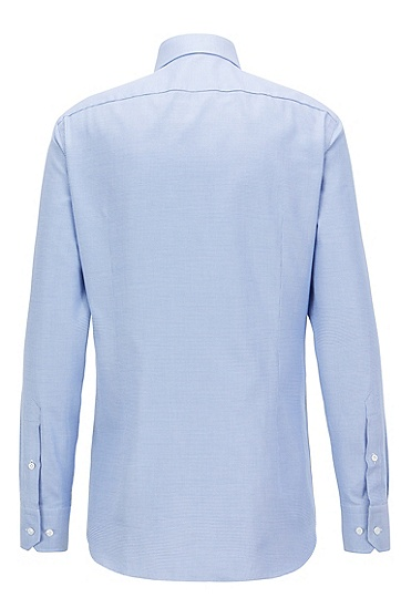 BOSS Tailored双层棉质千鸟格衬衫,  474_淡蓝色