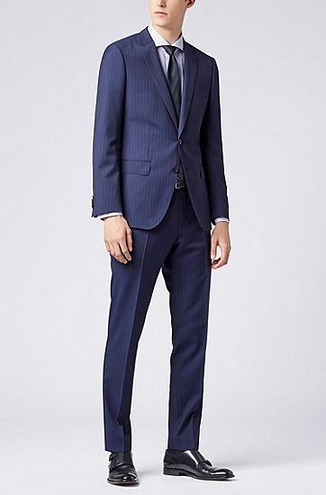 修身版意大利棉质格纹衬衫,  450_浅蓝色