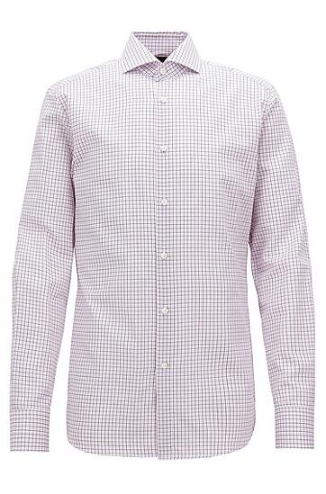 修身版意大利棉质格纹衬衫,  670_亮粉色