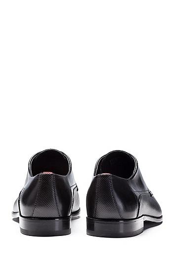 印花牛皮革德比鞋,  001_黑色