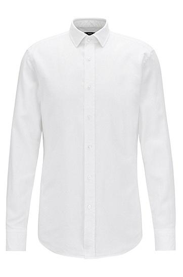 修身版微型结构棉质衬衫,  100_白色