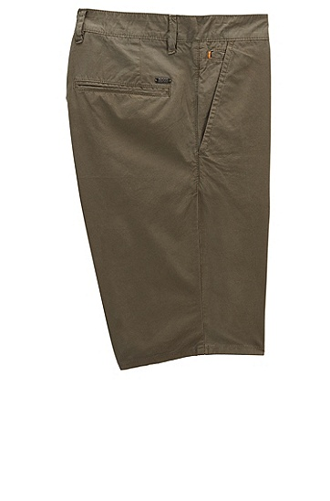修身版套染棉府绸短裤,  302_暗绿色