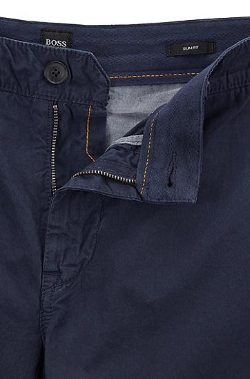 修身版套染棉府绸短裤,  404_暗蓝色