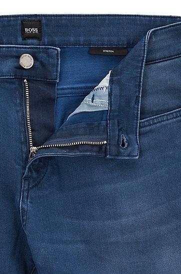 修身版弹力牛仔布牛仔裤,  420_中蓝色