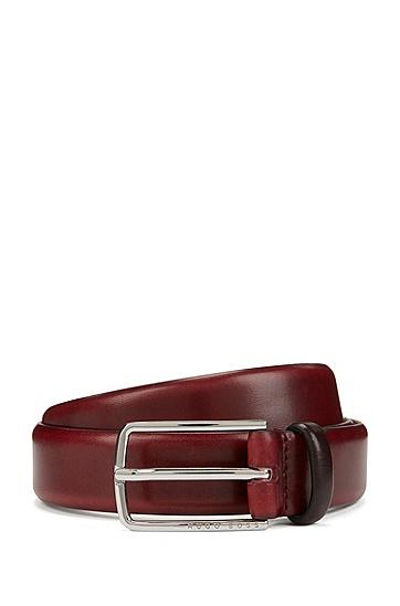 标志性腰带扣植鞣皮革腰带,  610_中红色