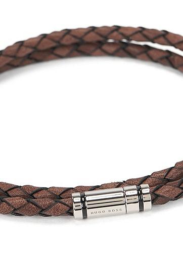 带珐琅条纹摁扣的饰带镶缀皮革手链,  210_中棕色