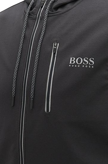 带弹力平纹单面针织布带风帽海滨夹克,  010_炭黑色