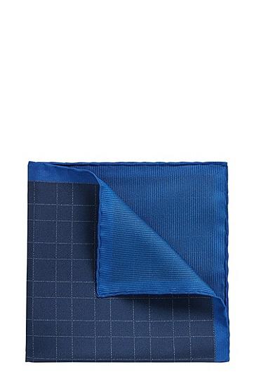 剪裁讲究的意大利手工制造桑蚕丝双面方巾,  474_淡蓝色