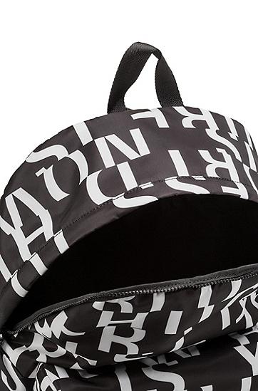 饰以抽象标语图案的聚酰胺纤维双肩包,  002_黑色
