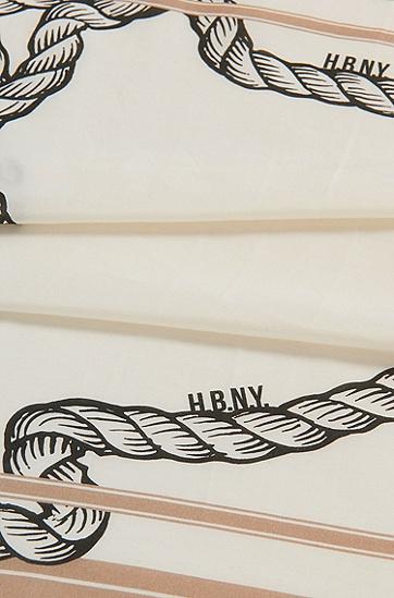 意大利制造棉质混纺印花大手帕,  266_中米色