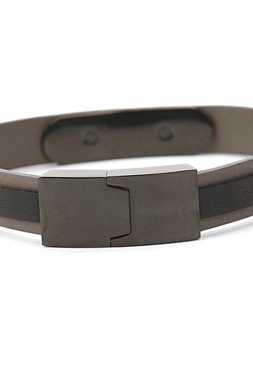 饰以镀黑logo板饰的分层式皮革手链,  021_暗灰色