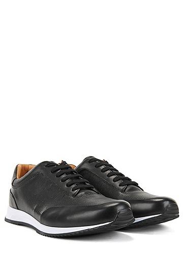 印花牛皮革系带运动鞋,  001_黑色