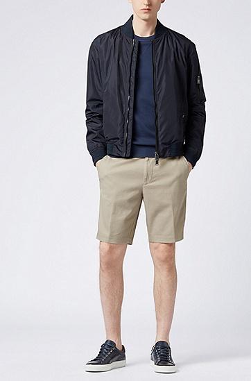 常规版结构化弹力棉短裤,  275_浅米色