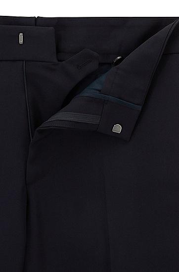 走秀版包边侧缝羊毛长裤,  402_暗蓝色