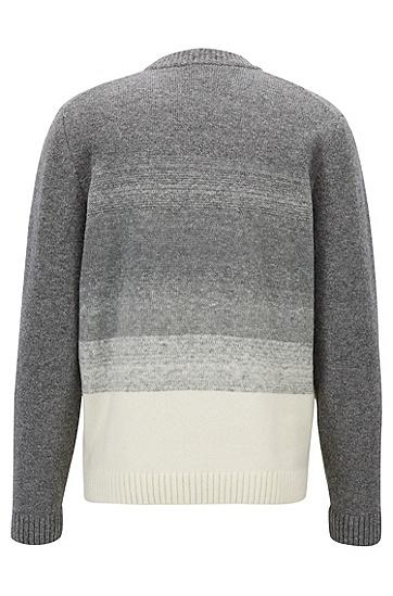 男士舒适简约条纹混纺套头针织毛衣,  041_银灰色