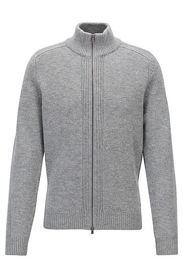 双向拉链羔羊毛立领毛衣,  041_银灰色