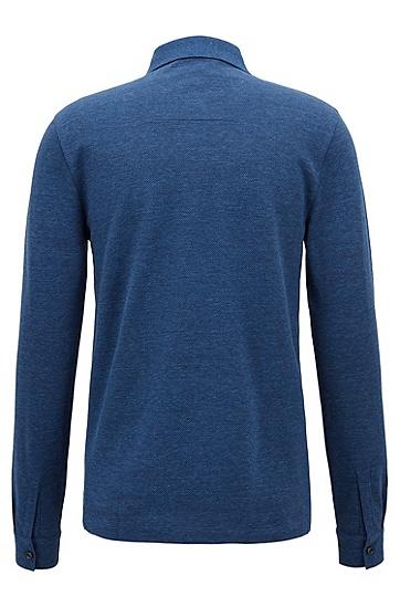 饰以衬衫风格袖口的牛仔布外观polo衫,  477_淡蓝色