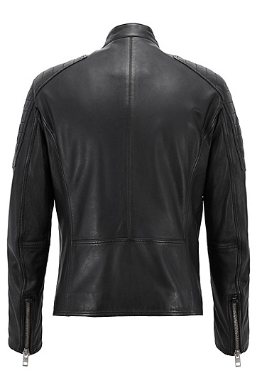 修身版轻微上蜡皮革机车夹克,  001_黑色