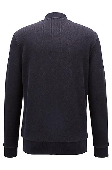 双层棉质平纹单面针织布甲克衫风格拉链式运动衫,  480_淡蓝色