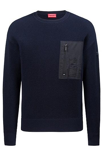 男士圆领开襟保暖套头羊毛针织衫,  410_海军蓝色