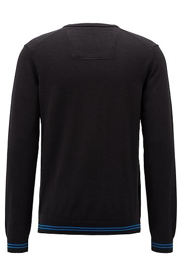 男士休闲刺绣针织V领套头毛衣,  001_黑色