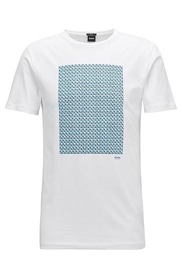 修身版单面平纹单面针织布印花T恤,  100_白色