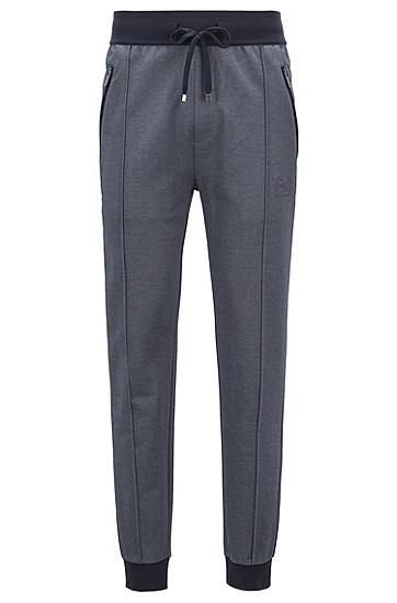 双色棉质混纺凸纹布家居长裤,  403_暗蓝色