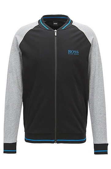 对比色插肩袖棉质平纹单面针织布外套,  001_黑色