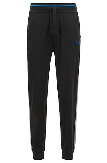 饰以对比色条纹细节的棉质家居便服长裤,  001_黑色