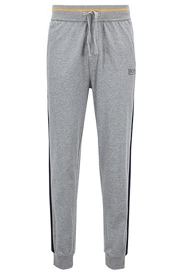 饰以对比色条纹细节的棉质家居便服长裤,  033_中灰色