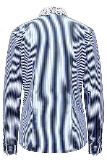 饰以蕾丝和扇形饰边细节的纯棉条纹女士衬衫,  449_水蓝色